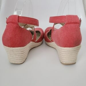 boc Shoes - B.O.C Red Espadrille Wedge Heel Strappy Clog Pumps